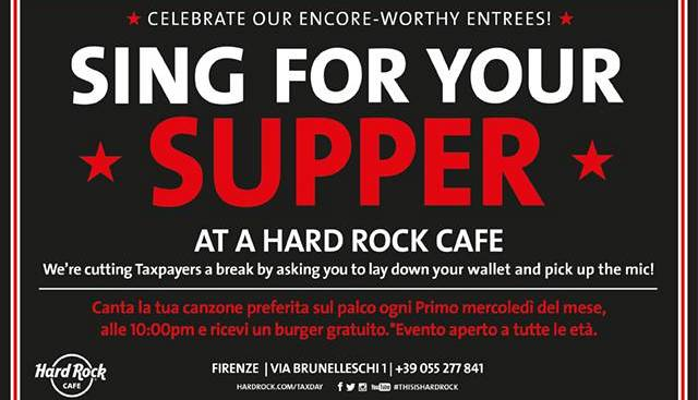 Evento Sing for your supper Hard Rock Cafe